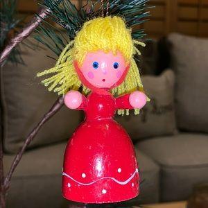 """3"""" blonde girl wooden Christmas tree Vtg ornament"""